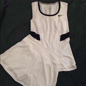 Nike Dri Fit Tennis Shirt and Skort White XS